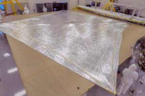 Plně rozložená solární plachta cubesatu NEA Scout