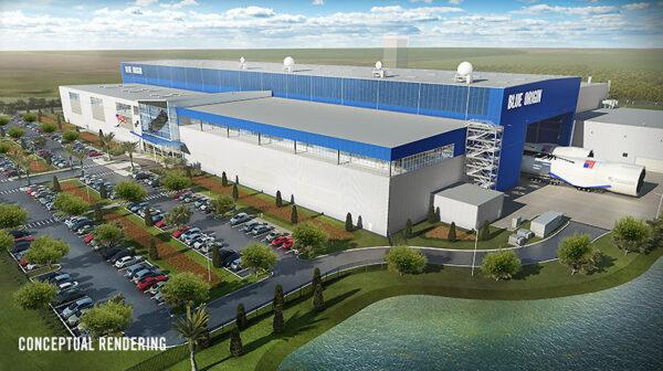 Vizualizace montážní haly firmy blue Origin na Floridě.
