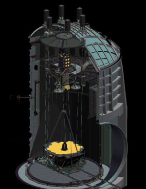 Průřez komorou A při testech Webbova teleskopu.