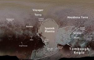 Mapa Pluta se 14 oficiálně pojmenovanými lokalitami.
