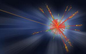 Simulace vypaření mikroskopické černé díry vzniklé na LHC emisí Hawkingova záření. Urychlovač LHC mikroskopické černé díry neobjevil a jejich existence i existence Hawkingova záření zůstávají stále voblasti hypotéz.
