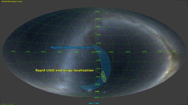 Dne 14. srpna 2017 se podařila čtvrtá detekce gravitačních vln vzniklých při splynutí černých děr. Tentokrát úkaz zaznamenaly tři detektory. Dva z amerického systému LIGO a evropský detektor VIRGO. To umožnilo zatím nejpřesnější určení polohy zdroje gravitačních vln.