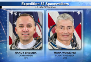 Randolph Bresnik a Mark Vande Hei vystoupí dvakrát do volného prostoru - čeká na ně první a druhý výstup.