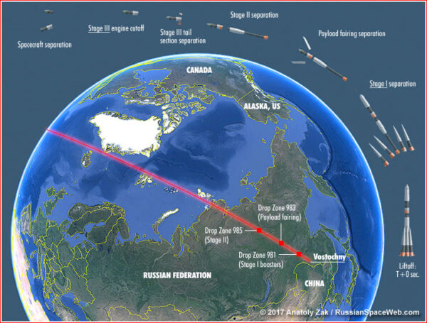 Trajektorie Sojuzu 2-1b s vyznačením dopadových oblastí jednotlivých částí rakety.