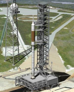 Vizualizace rakety Ares I na mobilní odpalovací plošině.
