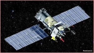 Ilustrace Meteoru M2-1 s rozloženými solárními panely.