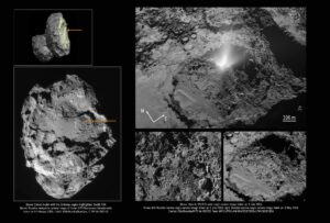 Vlevo nahoře vidíme model komety s vyznačeným regionem Imhotep. Šipka ukazuje oblast, ve které došlo k výtrysku. Vlevo dole vidíme fotku komety, kterou Rosetta pořídila 5. února 2016, kde je celá oblast podrobně vidět. Vpravo nahoře je snímek pořízený 3. července 2016 širokoúhlou kamerou OSIRIS v 9:50 SELČ v době výtrysku. Pod ním jsou přiložené porovnávací snímky pořízené kamerou OSIRIS s úzkým zorným polem. Vlevo je snímek pořízený zhruba deset hodin před výtryskem a vpravo stejná oblast po výtrysku.