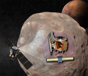 MMX při zkoumání Phobosu - ve výřezu je vidět MEGANE