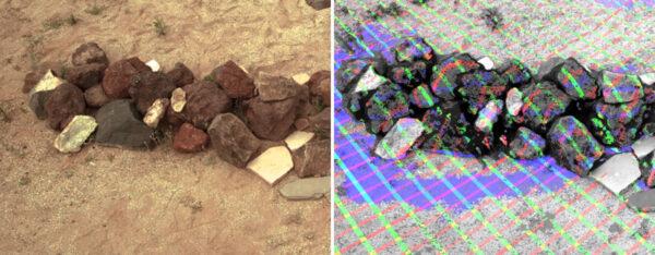 Test kamery NavCam pro Mars rover 2020 ve cvičném prostoru JPL. Hromada kamenů snímaná ze vzdálenosti 15 metrů ukazuje schopnost kamer zachytit tvar objektů i na větší vzdálenost. Tato měření jsou důležitá, protože dávají plánovačům možnost přesného řízení pohybu robotické paže a autonomnímu systému vozítka plánovat jízdu.