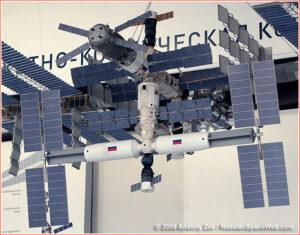Model z roku 2009 ukazuje tehdejší plány na vzhled ruské části ISS.