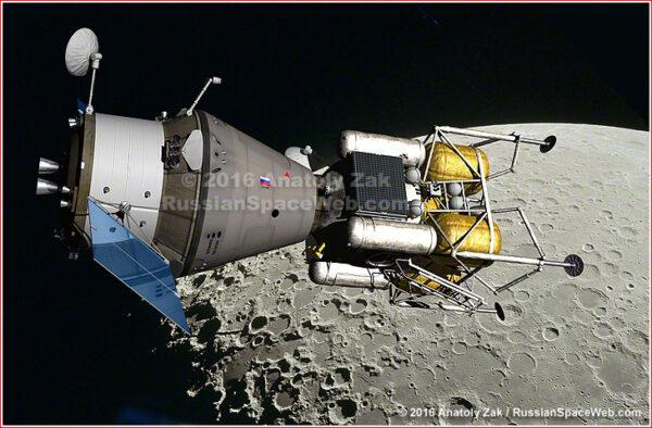 Loď Federace a lander u Měsíce