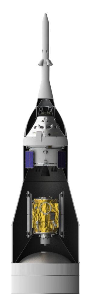 Průřez horní částí rakety SLS při misi EM-2 - pod záchrannou věžičkou vidíme loď Orion, níže pak modul PPE, dole pak horní část stupně EUS.