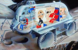 Představa měsíčního roveru pro čtyřčlennou posádku s patrným využitím konceptu Cupola.