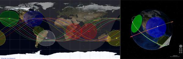 Pokrytí světa první a druhou trojicí družic Yaogan 30.