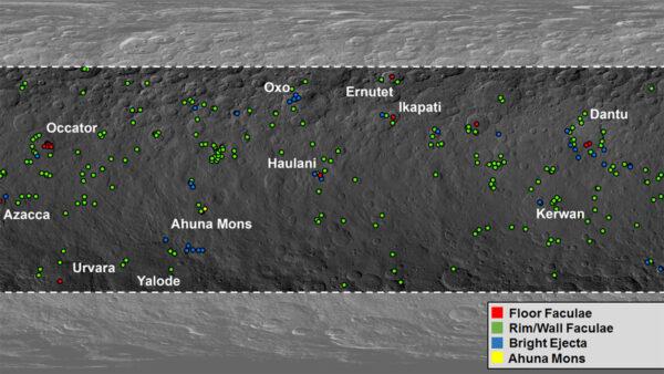 Rozmístění známých skvrn na Ceres včetně jejich dělení do čtyř kategorií