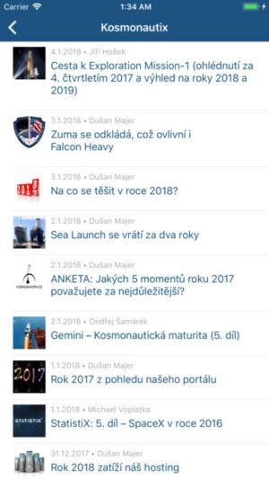 Screenshot aplikace kosmonautix pro iOS z internetového obchodu