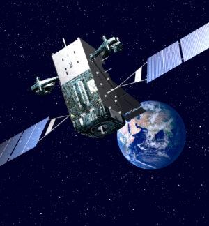Vizualizace družice SBIRS na oběžné dráze.