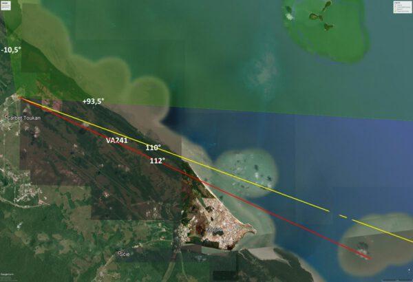 Zeleně je vyznačen střelecký prostor z kosmodromu v Kourou - raketa však mířila mezi žlutou a červenou čáru.