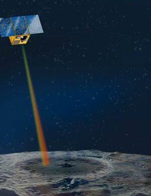 Princip hledání ledu v lunárním kráteru.