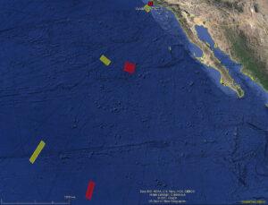 Porovnání uzavřených oblastí pro aktuální misi NROL-47 (červeně) a NROL-45 z roku 2016 (žlutě)