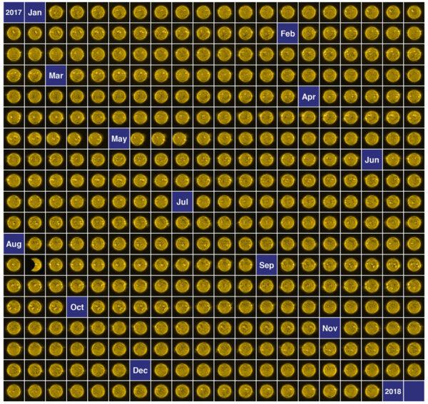 365 snímků Slunce pořízených v roce 2017 evropskou sondou Proba-2.