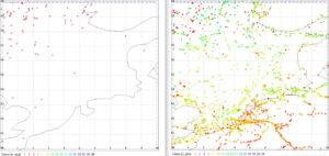 Lodě, které v Severním moři zaznamenaly družice AISSat-1 a 2 (vlevo) a NorSat-1 a 2 (vpravo).