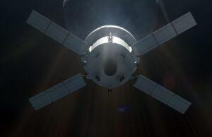 Vizualizace lodi Orion - hlavní motor lodi se nachází uprostřed servisního modulu.