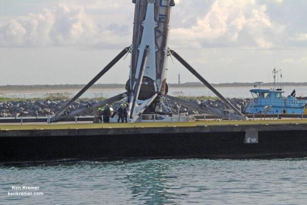 První stupeň z mise BulgariaSat 1 po návratu do přístavu.