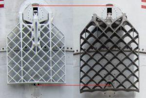 Porovnání původních roštových kormidel z hliníkové slitiny s novým typem z titanu.