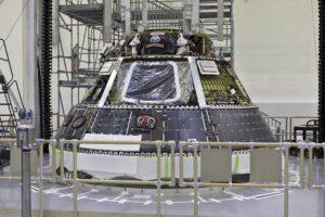 Orion pro EM-1 – modul pro posádku, únor 2018. Modul má být dokončen na jaře 2018.
