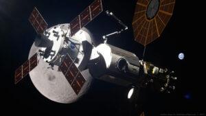 Orion u stanice v cislunárním prostoru při misi EM-3.