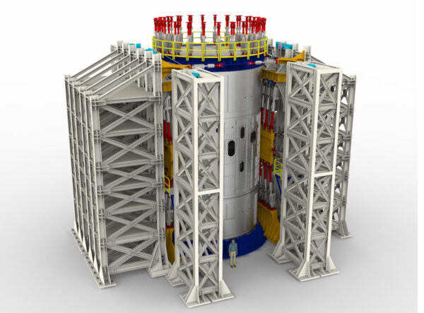 Vizualizace testovacího stanoviště pro intertank centrálního stupně SLS.