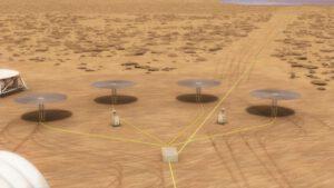 Koncept využití systému Kilopower na povrchu Marsu.