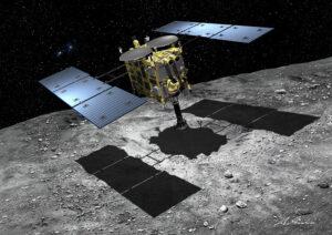 Umělecká představa odběru vzorků sondou Hayabusa 2.