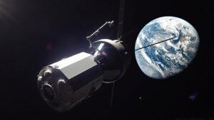Vizualizace lodi Orion s obytným modulem míří vstříc oběžné dráze kolem Měsíce.