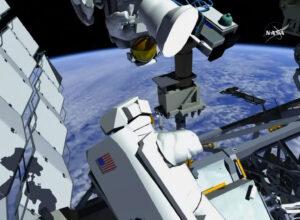 Pozice astronautů při výměně sestavy kamer.