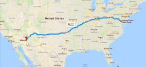 Mapa USA s vyznačenou (pravděpodobnou) dráhou transportu přístroje ATLAS.