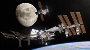 Nathan Koga na své ilustraci porovnává velikost ISS a plánované DSG.