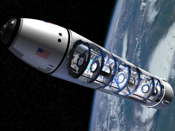 Utopická představa vesmírného hotelu organizace Space Island Group.