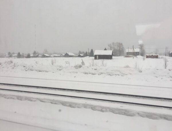 Zasněžená krajina v Rusku