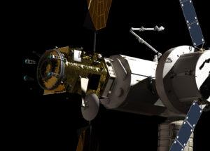 Vlevo zobrazený modul PPE bude prvním dílem stanice u Měsíce - v pravé části vidíme zaparkovanou loď Orion.