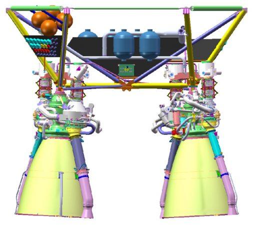 Dvojice spřažených motorů YF-77