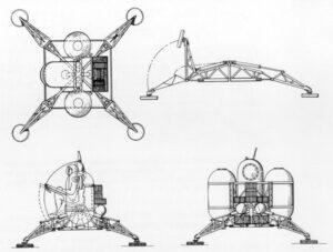 Jednoduchý přistávací modul z projektu lunární Mercury Mark II