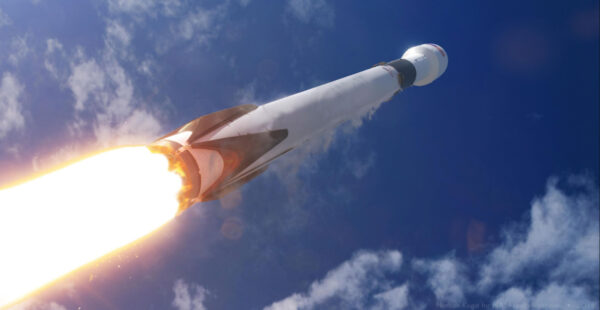 Umělecká představa nejpropracovanější í verze rakety Falcon 9 Block 5. Kredit: Nathaniel Koga
