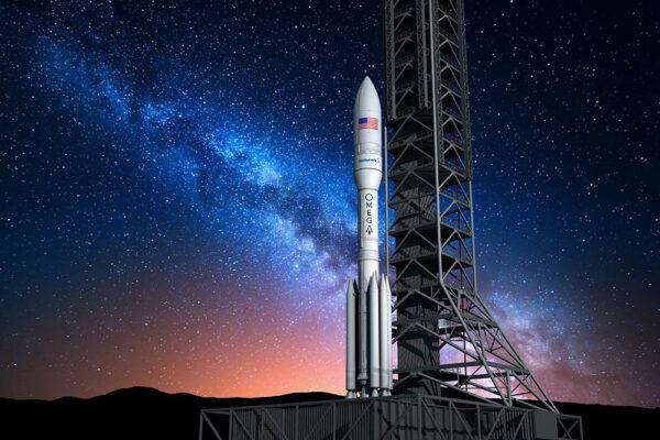 Vizualizace rakety OmegA na startovní rampě.