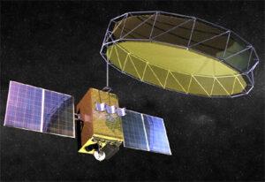 Vizualizace družice GSAT-6A v rozloženém stavu.