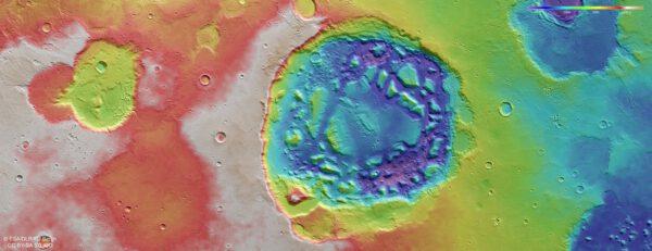 Aktuální vědecká práce Mars Express. Totpografická mapa velkého kráteru na Marsu, který možná není kráterem, ale supervulkánem