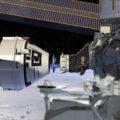 Umělecká představa lodi Starliner během připojování k ISS.