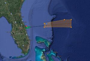 Uzavřené oblasti při startu Falconu 9 s teleskopem TESS. Modře je vyznačena poloha přistávací plošiny.
