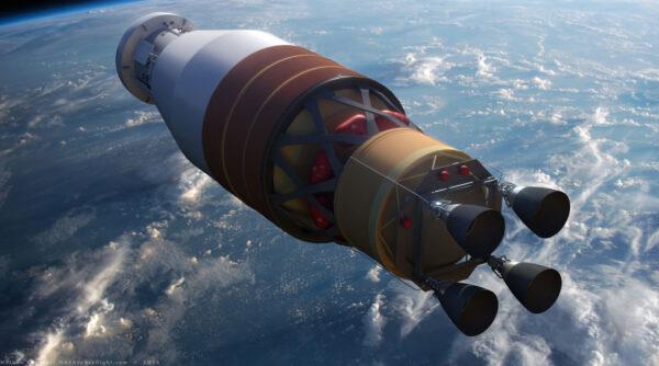 Horní stupeň EUS rakety SLS se čtyřmi motory RL10, v ilustraci od Nathaniela Kogy.